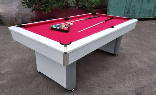 Billard Crosby 7 ft Américain Blanc Tapis Rouge