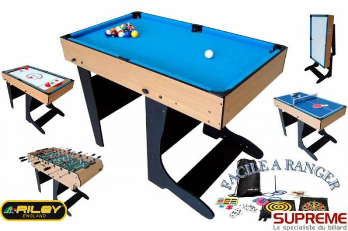 Table Multi Jeux 21 En 1 Pliable Bois Riley Jmj Billard
